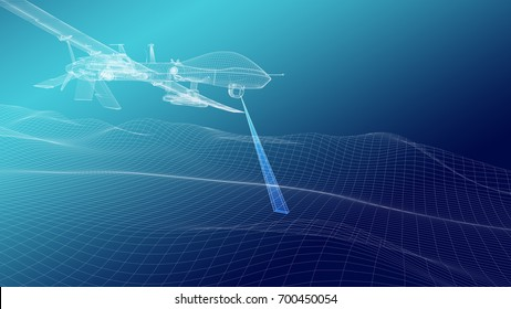 Military drone over terrain mesh. Geo-scanning. Wire render. 3d illustration.