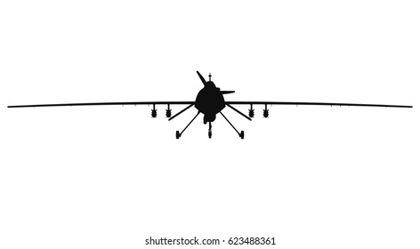 Military drone silhouette. Front view. No light 3d render.