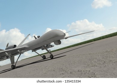 Military drone standing on runway with clouds in the sky