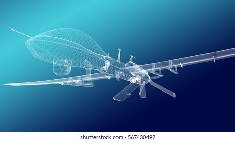 Military drone without missiles. Nose bottom view. Wire render.