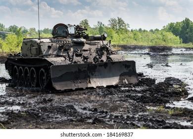 Military engineering vehicle on battlefield