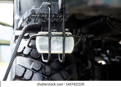 Military equipment. KAMAZ, large wheel headlight.