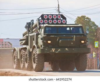Military equipment on city streets, rehearsal of military equipment, Yekaterinburg, Novosibirskaya street, Russia, 04/19/2017