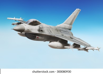 Military F16 fighter jet close up soaring through the air