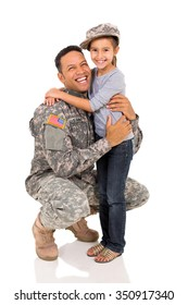 military father hugging his daughter on white background
