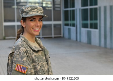 Military female smiling with copy space