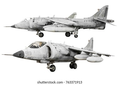 Military fighter jet airplane isolated on white background with clipping path