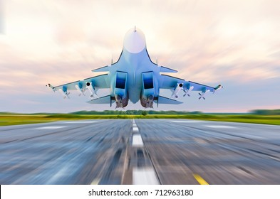 Military fighter jet flies at high speed over the taxiway at the airport