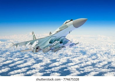 Military fighter jet plane above the clouds