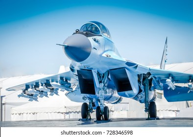 Military fighter jet plane. Armed military plane. Russian army fighter jet MIG 35. Fulcrum-F combat fighter jet. Russian military Supersonic plane. Air show MAKS 2017 with War planes in Russia Syria