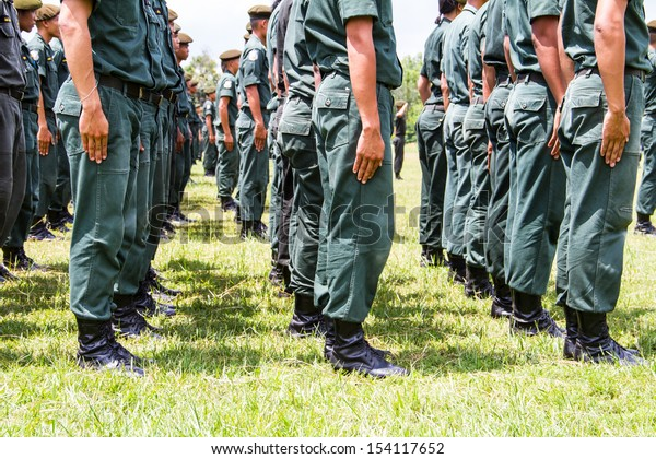 Military force uniform soldier boot row