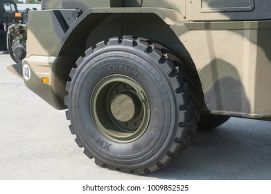"""MILITARY GROUND ALABINO, MOSCOW OBLAST, RUSSIA - Aug 22, 2017: Russian wheeled armored road car KDMB on the basis of the loader L 538 """"Liebherr"""" in military-technical forum Army-2017, wheel"""