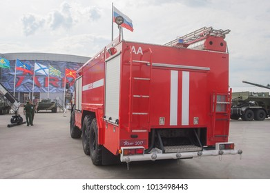 MILITARY GROUND ALABINO, MOSCOW OBLAST, RUSSIA - Aug 22, 2017: Russian new airfield fire engine AA-8-60 (KAMAZ-43118) in the International military-technical forum Army-2017, rear view