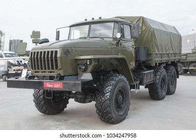 """MILITARY GROUND ALABINO, MOSCOW OBLAST, RUSSIA - Aug 22, 2017: New Russian military cargo truck Ural-4320-31 at the international military-technical forum """"Army-2017"""", front view-left"""