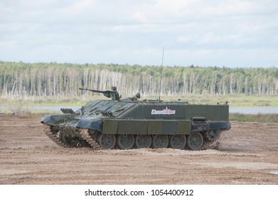 MILITARY GROUND ALABINO, MOSCOW OBLAST, RUSSIA - Aug 24, 2017: Russian heavy combat machine flamethrower BMO-T (Object 564) on International military-technical forum ARMY-2017
