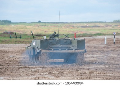MILITARY GROUND ALABINO, MOSCOW OBLAST, RUSSIA - Aug 24, 2017: Russian heavy combat machine flamethrower BMO-T (Object 564) the movement the International military-technical forum ARMY-2017, rear view
