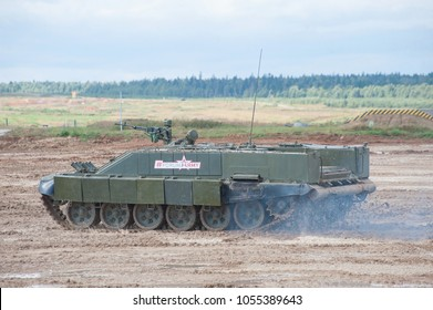 MILITARY GROUND ALABINO, MOSCOW OBLAST, RUSSIA - Aug 24, 2017: Russian heavy combat machine flamethrower BMO-T (Object 564)  the movement in the International military-technical forum ARMY-2017