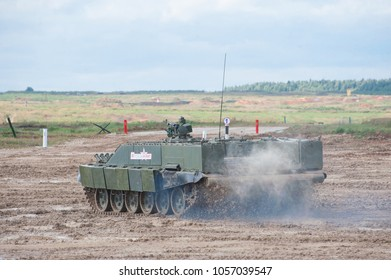 MILITARY GROUND ALABINO, MOSCOW OBLAST, RUSSIA - Aug 24, 2017: Russian heavy combat machine flamethrower BMO-T (Object 564) in the International military-technical forum ARMY-2017, rear view