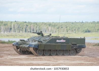 MILITARY GROUND ALABINO, MOSCOW OBLAST, RUSSIA - Aug 24, 2017: Russian heavy combat machine flamethrower BMO-T (Object 564) the movement the International military-technical forum ARMY-2017,front view