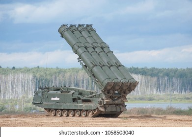 MILITARY GROUND ALABINO, MOSCOW OBLAST, RUSSIA - Aug 24, 2017: Russian tracked launch vehicle of the S-300 air defense missile system (SA-10 Grumble) with rising missiles, technical forum ARMY-2017