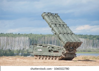 MILITARY GROUND ALABINO, MOSCOW OBLAST, RUSSIA - Aug 24, 2017: Tracked launcher of the S-300 (SA-10 Grumble) family anti-aircraft missile system at the international military-technical forum ARMY-2017