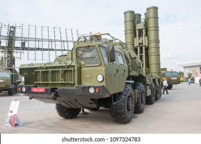 MILITARY GROUND ALABINO, MOSCOW OBLAST, RUSSIA - Aug 22, 2017: Launcher 5P85SM2-01 anti-aircraft missile system S-400 Triumph in the Park Patriot, International military-technical forum Army-2017