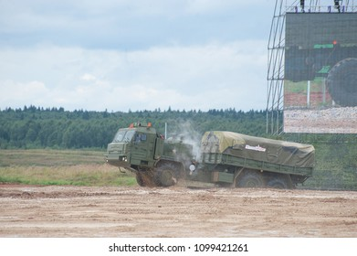 """MILITARY GROUND ALABINO, MOSCOW OBLAST, RUSSIA - Aug 24, 2017: Russian military truck BAZ-6402 """"Voschina-1"""" leaves the pool at the site of Alabino, the international military-technical forum ARMY-2017"""