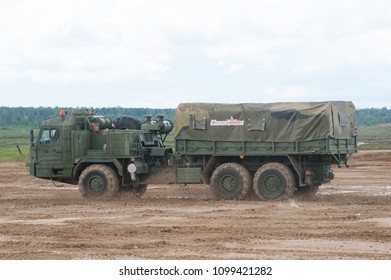 MILITARY GROUND ALABINO, MOSCOW OBLAST, RUSSIA - Aug 24, 2017: Russian military truck BAZ-6402 cross-country racing on the landfill Alabino, international military-technical forum ARMY-2017