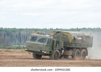 MILITARY GROUND ALABINO, MOSCOW OBLAST, RUSSIA - Aug 24, 2017: Russian military truck BAZ-6402 cross-country rides at the site of Alabino, international military-technical forum ARMY-2017, front view