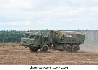 """MILITARY GROUND ALABINO, MOSCOW OBLAST, RUSSIA - Aug 24, 2017: Russian military truck BAZ-6402 """"Voschina-1"""" cross-country rides at the site of Alabino, international military-technical forum ARMY-2017"""