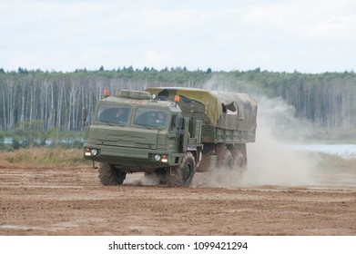 """MILITARY GROUND ALABINO, MOSCOW OBLAST, RUSSIA - Aug 24, 2017: Russian military truck BAZ-6402 """"Voschina-1"""" at the Alabino site, the international military-technical forum ARMY-2017, front view"""