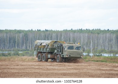 MILITARY GROUND ALABINO, MOSCOW OBLAST, RUSSIA - Aug 24, 2017: Russian military truck BAZ-6402 rides on the landfill Alabino, international military-technical forum ARMY-2017