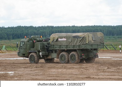 MILITARY GROUND ALABINO, MOSCOW OBLAST, RUSSIA - Aug 24, 2017: Russian military truck BAZ-6402 cross-country racing on the landfill Alabino, international military-technical forum ARMY-2017, rear view