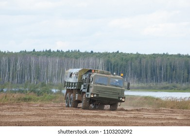 MILITARY GROUND ALABINO, MOSCOW OBLAST, RUSSIA - Aug 24, 2017: Russian military truck BAZ-6402 moving on the landfill Alabino, international military-technical forum ARMY-2017