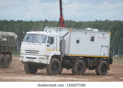 MILITARY GROUND ALABINO, MOSCOW OBLAST, RUSSIA - Aug 24, 2017: Arctic all-terrain vehicle KAMAZ (rescue vehicle) at the landfill Alabino, international military-technical forum ARMY-2017, front view