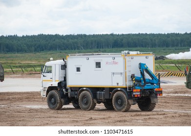 MILITARY GROUND ALABINO, MOSCOW OBLAST, RUSSIA - Aug 24, 2017: Arctic all-terrain vehicle KAMAZ (rescue vehicle) at the landfill Alabino, international military-technical forum ARMY-2017, rear view