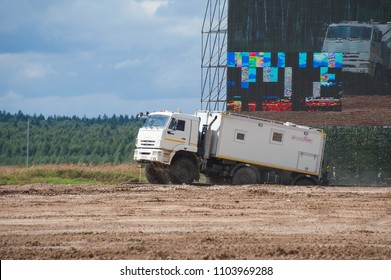MILITARY GROUND ALABINO, MOSCOW OBLAST, RUSSIA - Aug 24, 2017: Arctic all-terrain vehicle KAMAZ (rescue vehicle) leaves the reservoir landfill Alabino, international military-technical forum ARMY-2017