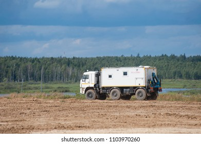 MILITARY GROUND ALABINO, MOSCOW OBLAST, RUSSIA - Aug 24, 2017: Arctic all-terrain vehicle KAMAZ at the landfill Alabino, international military-technical forum ARMY-2017, rear view