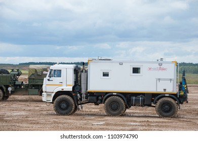 MILITARY GROUND ALABINO, MOSCOW OBLAST, RUSSIA - Aug 24, 2017: Arctic all-terrain vehicle KAMAZ (rescue vehicle) at the landfill Alabino, international military-technical forum ARMY-2017