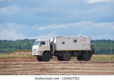 MILITARY GROUND ALABINO, MOSCOW OBLAST, RUSSIA - Aug 24, 2017: Arctic all-terrain vehicle KAMAZ (rescue vehicle) at the landfill Alabino, international military-technical forum ARMY-2017, side view
