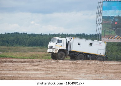 MILITARY GROUND ALABINO, MOSCOW OBLAST, RUSSIA - Aug 24, 2017: Arctic all-terrain vehicle KAMAZ (rescue vehicle) moves at the landfill Alabino, international military-technical forum ARMY-2017
