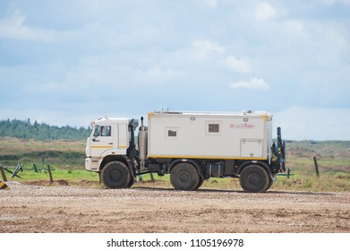 MILITARY GROUND ALABINO, MOSCOW OBLAST, RUSSIA - Aug 24, 2017: Arctic all-terrain vehicle KAMAZ at the landfill Alabino, international military-technical forum ARMY-2017, side view