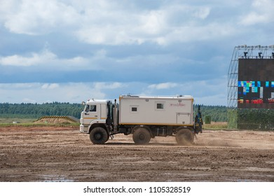 MILITARY GROUND ALABINO, MOSCOW OBLAST, RUSSIA - Aug 24, 2017: Arctic all-terrain vehicle KAMAZ (rescue vehicle) goes to the landfill Alabino, international military-technical forum ARMY-2017