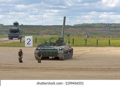 MILITARY GROUND ALABINO, MOSCOW OBLAST, RUSSIA - AUG 22, 2018: 2S4 Tyulpan is a Soviet 240mm self-propelled mortar at the International military-technical forum ARMY-2018
