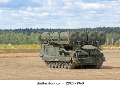MILITARY GROUND ALABINO, MOSCOW OBLAST, RUSSIA - AUG 22, 2018: Canoniac launcher air defense S-300 (NATO reporting name SA-10 Grumble) at the International military-technical forum ARMY-2018
