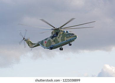 MILITARY GROUND ALABINO, MOSCOW OBLAST, RUSSIA - AUG 21, 2018: International military-technical forum ARMY-2018. The Mil Mi-26 (Halo) is a Russian heavy transport helicopter