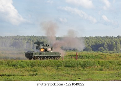 MILITARY GROUND ALABINO, MOSCOW OBLAST, RUSSIA - AUG 21, 2018: The Tunguska (SA-19 Grison) is a Russian anti-aircraft gun-missile system at the International military-technical forum ARMY-2018