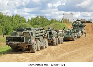 MILITARY GROUND ALABINO, MOSCOW OBLAST, RUSSIA - AUG 22, 2018: International military-technical forum ARMY-2018. Military equipment participating in the show
