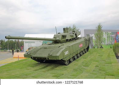 MILITARY GROUND ALABINO, MOSCOW OBLAST, RUSSIA - AUG 21, 2018: The T-14 Armata is a new Russian main battle tank at the International military-technical forum ARMY-2018