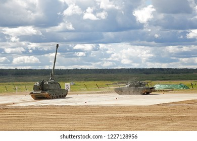 MILITARY GROUND ALABINO, MOSCOW OBLAST, RUSSIA - AUG 22, 2018: Show of military equipment on military ground at the International military-technical forum ARMY-2018